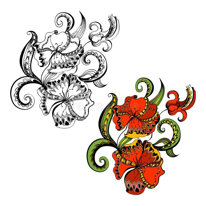 План схематичных doodles декоративный флористический иллюстрация вектора