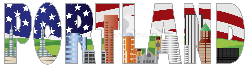 План текста Портленда Орегона с горизонтом города иллюстрация штока