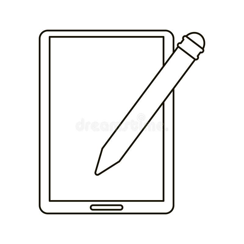 План цифровой технологии ручки таблетки иллюстрация вектора