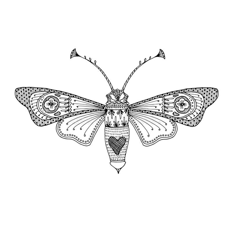 План черноты сумеречницы бабочки нарисованный вручную Чувствительный взрослый дизайн книжка-раскраски для того чтобы сбросить стр иллюстрация штока