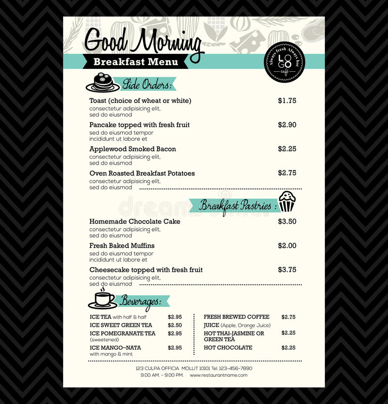 План шаблона дизайна меню завтрака ресторана иллюстрация вектора