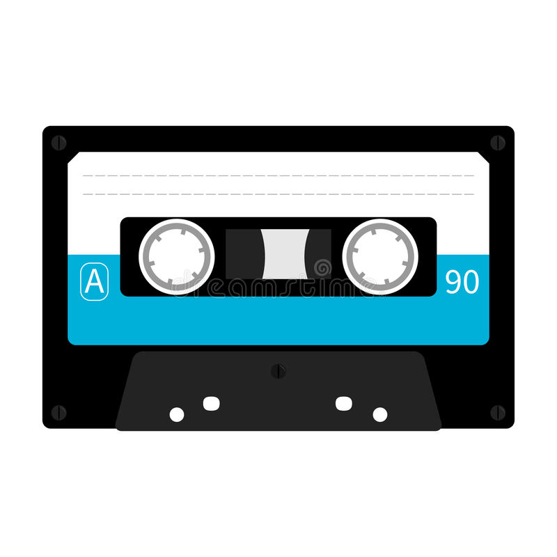 Пластичная кассета ленты звукозаписи Ретро значок музыки Элемент записи леты 80s 90s иллюстрация штока