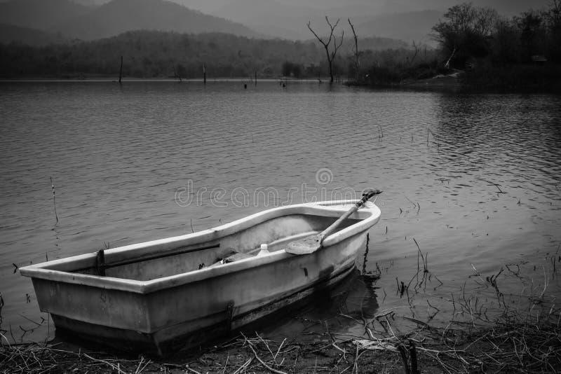 Пластичная шлюпка в озере стоковое фото rf