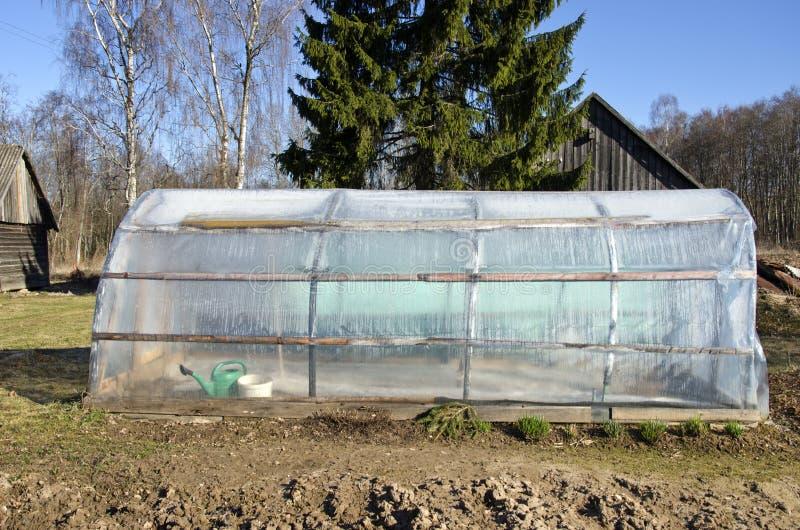 Пластичный сад фермы парника весной стоковое фото rf
