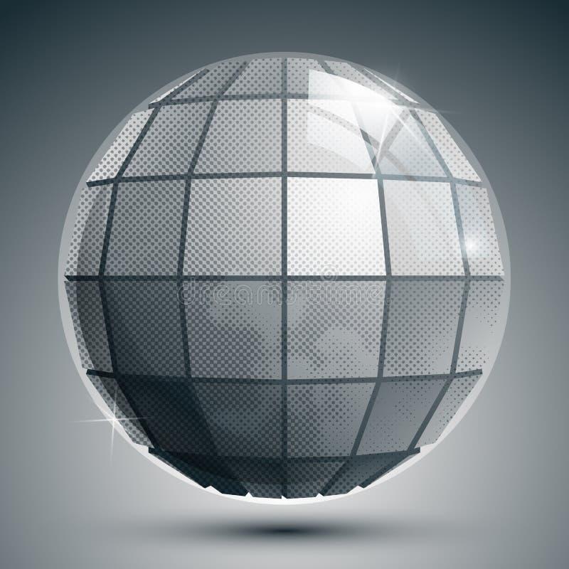 Пластичный pixilated 3d сферически объект, серая шкала придал квадратную форму synthet иллюстрация вектора