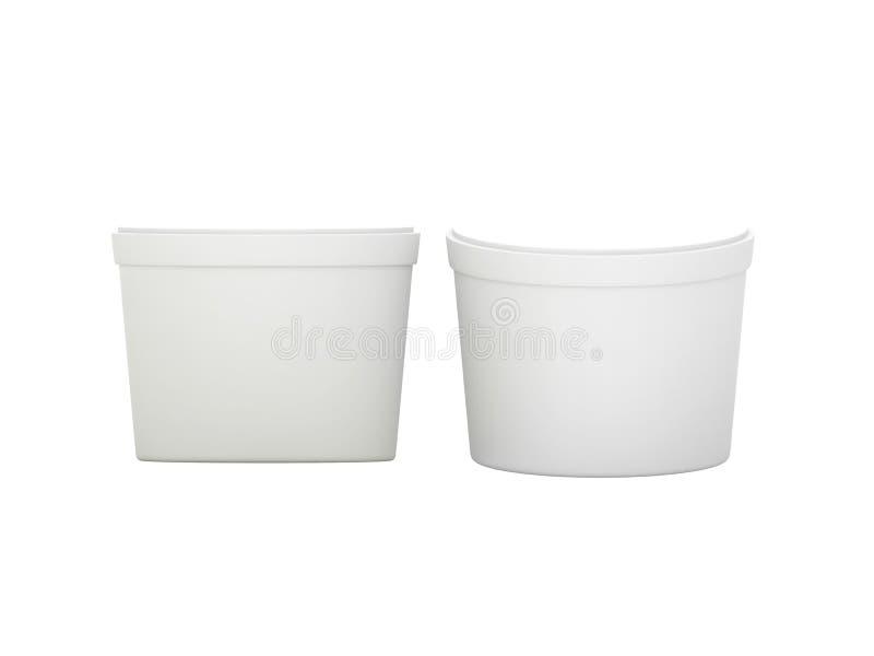 Пластмасовый контейнер белой пустой короткой еды ушата упаковывая с cli иллюстрация штока