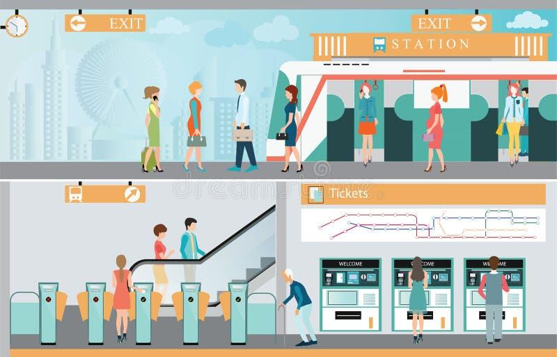 Платформа железнодорожной станции метро с путешествовать людей иллюстрация вектора