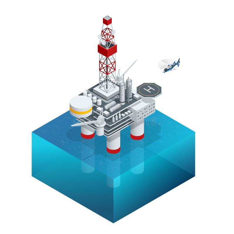 Платформа нефти и газ в заливе или море Мировая энергетика Оффшорная конструкция масла и снаряжения Значок вектора равновеликий иллюстрация вектора