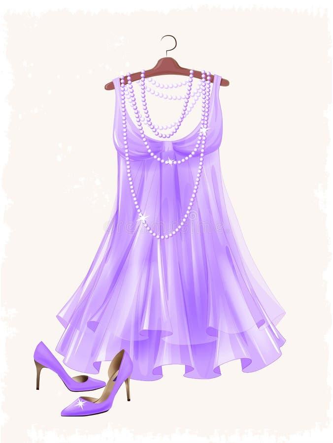 Платье винтажной сирени silk и высоко-накрененные ботинки иллюстрация штока