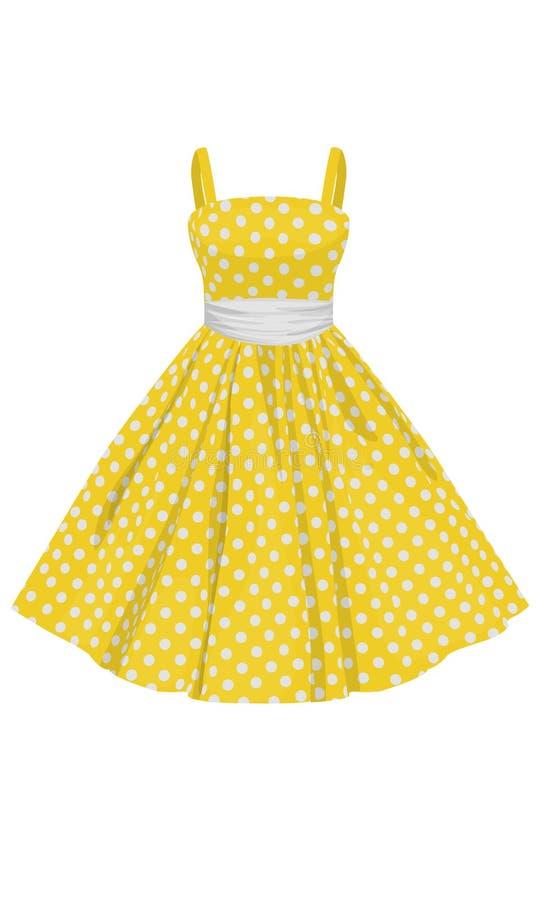 Платье желтого цвета вектора с белыми точками польки стоковые фотографии rf
