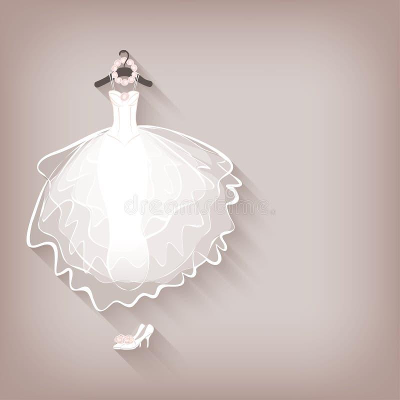 Платье и венок невесты иллюстрация штока
