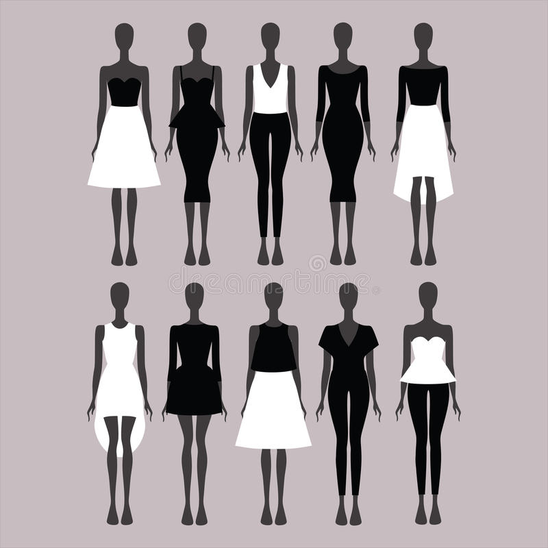 Платье кальсоны top юбка Костюм женщины Платье вечера Clo женщин иллюстрация штока