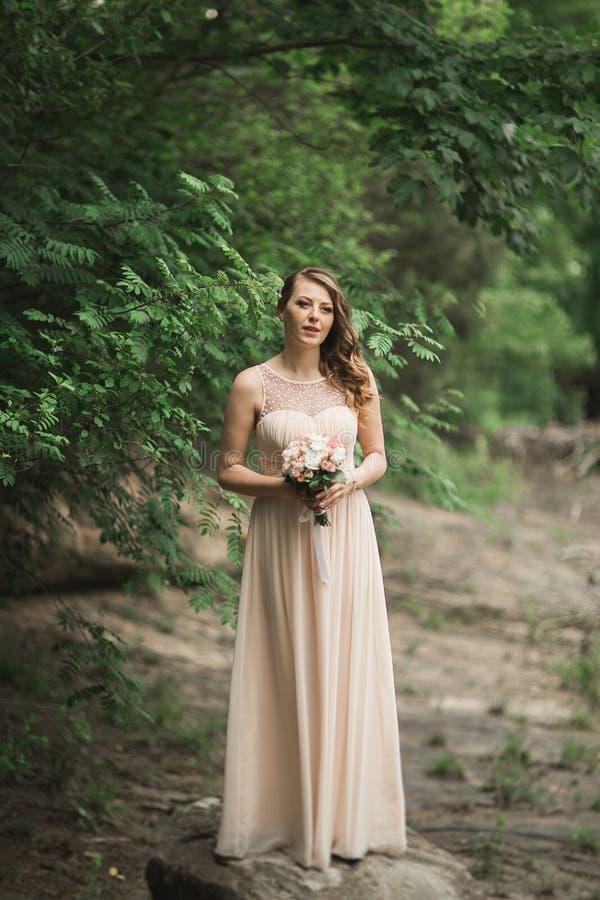 Платье красивой роскошной молодой невесты inwedding стоя близко река с горами на предпосылке стоковые фото