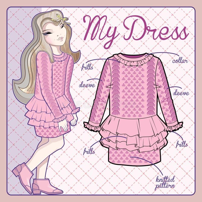 Платье милой маленькой девочки нося связанное пинком иллюстрация вектора