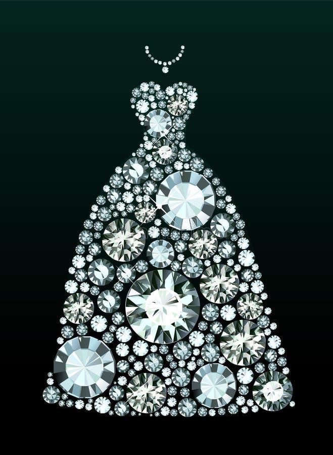 Платье свадьбы диаманта бесплатная иллюстрация