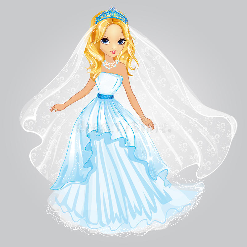 Платье свадьбы принцессы В красоты белокурое иллюстрация штока
