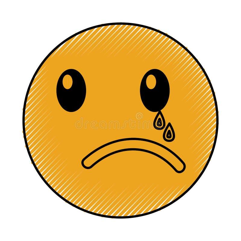 Плача стиль kawaii стороны смайлика бесплатная иллюстрация