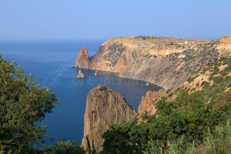 Плаща-накидк Fiolent. Чёрное море. Крым. стоковое изображение