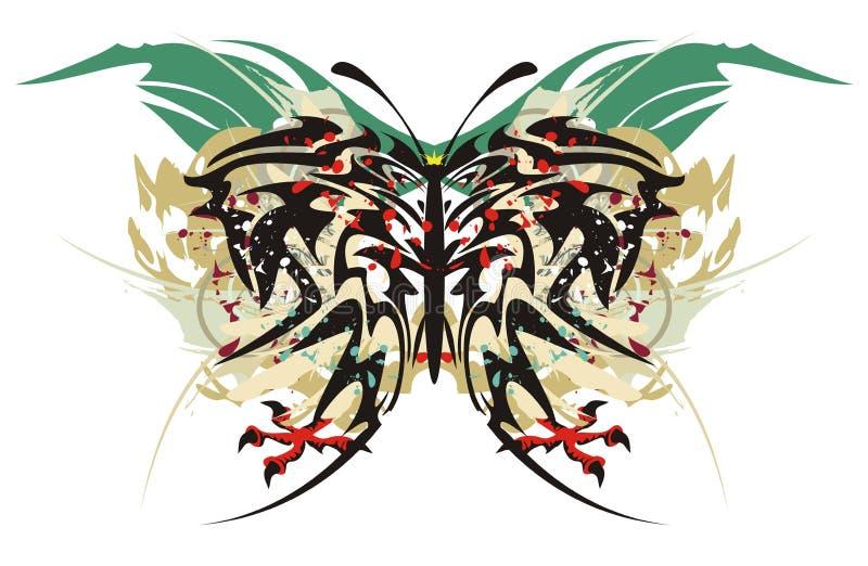Племенная бабочка брызгает с когтями орла иллюстрация вектора
