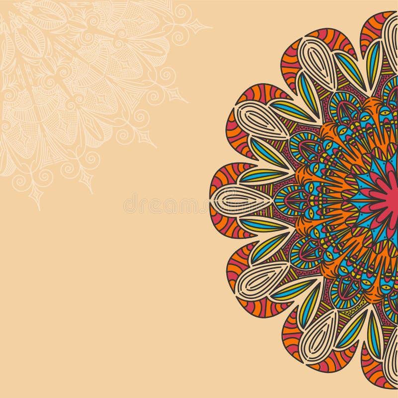Племенная, богемская предпосылка мандалы с круглым орнаментом Нарисованная рукой иллюстрация вектора бесплатная иллюстрация