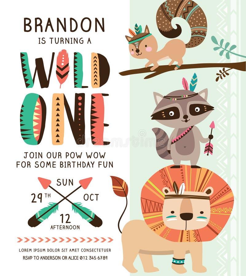 Племенная карточка приглашения дня рождения бесплатная иллюстрация