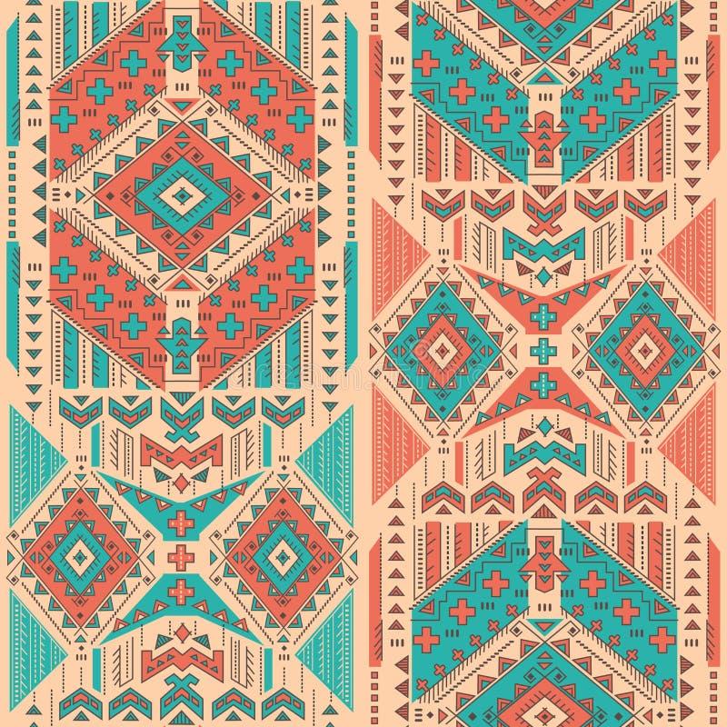 Племенная мексиканская винтажная этническая безшовная картина иллюстрация вектора