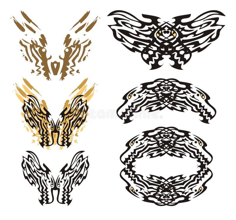 Племенная пламенеющая бабочка дракона и roundish рамка дракона бесплатная иллюстрация