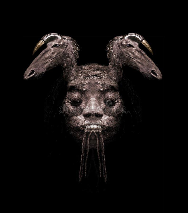Племенная темная иллюстрация коллажа маски стоковая фотография