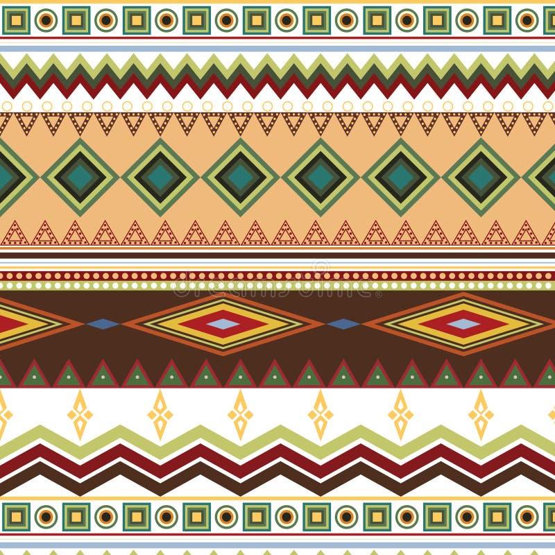 Племенная этническая безшовная картина нашивки на белой предпосылке иллюстрация вектора