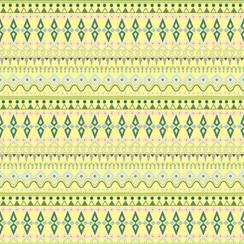 Племенная этническая безшовная картина нашивки на желтой предпосылке иллюстрация вектора