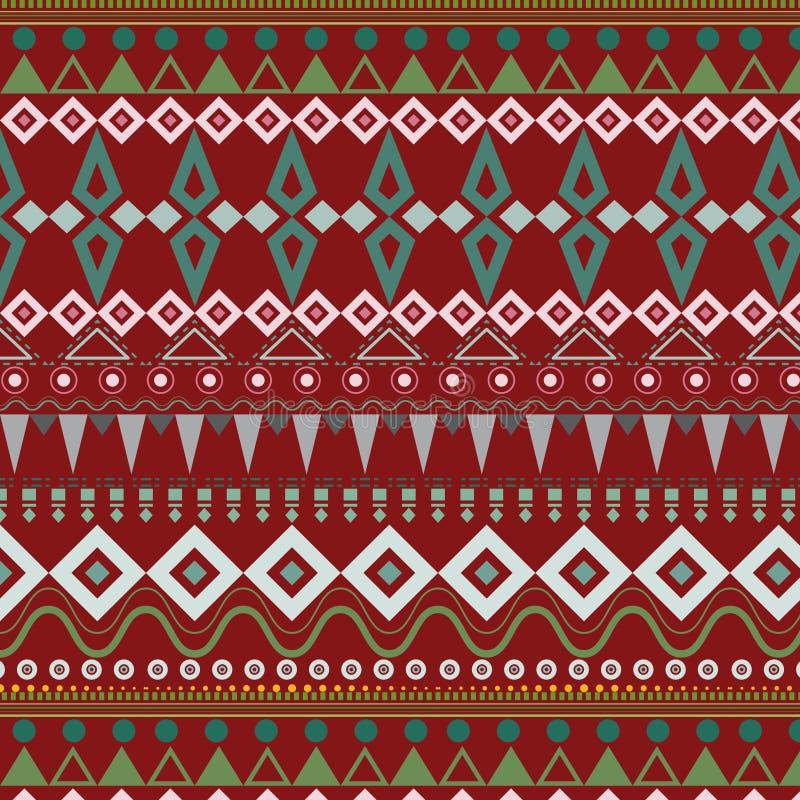 Племенная этническая безшовная картина нашивки на красной предпосылке иллюстрация штока