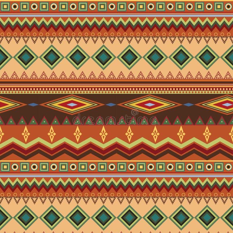 Племенная этническая безшовная картина нашивки на оранжевой предпосылке иллюстрация вектора
