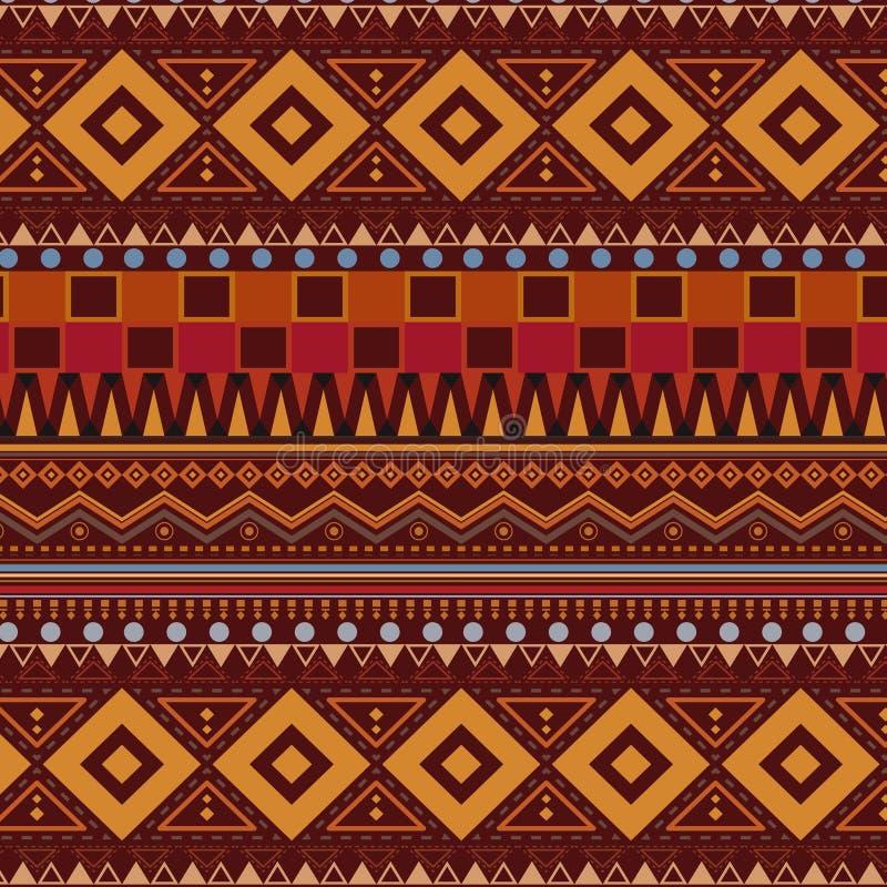 Племенная этническая безшовная картина на коричневой предпосылке иллюстрация вектора