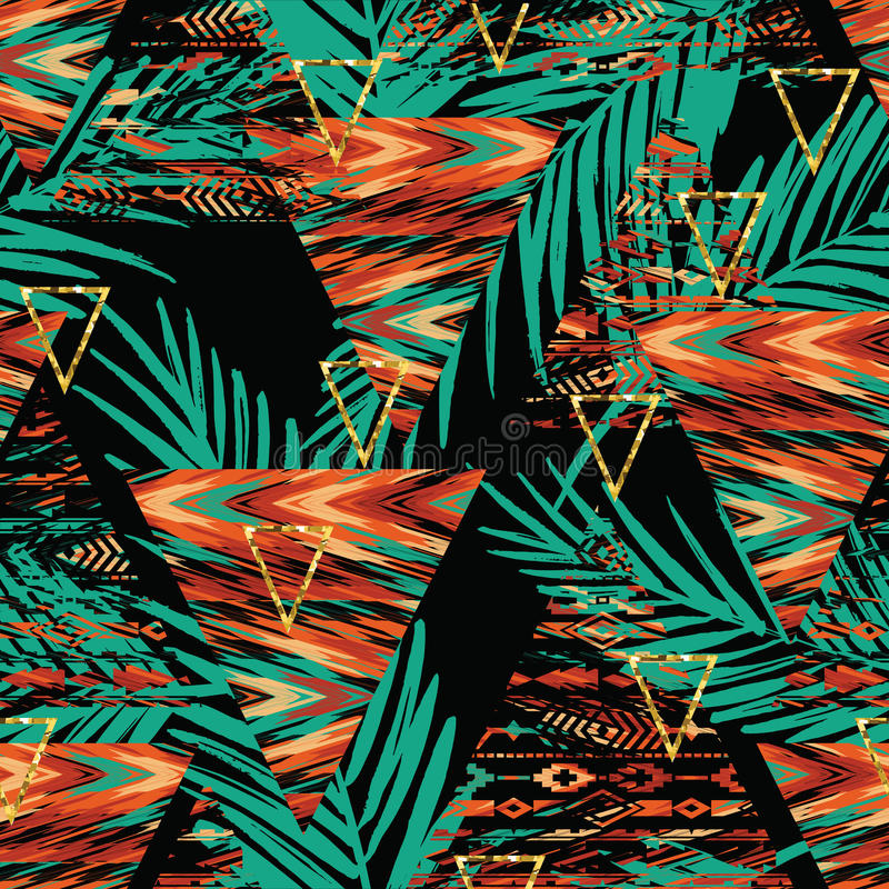 Племенная этническая безшовная картина с геометрическими элементами и листьями ладони иллюстрация вектора