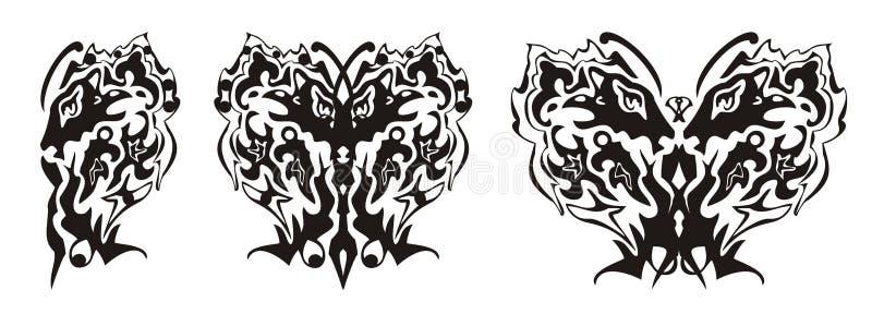 Племенное крыло бабочки сформировало головой льва и головой орла бесплатная иллюстрация