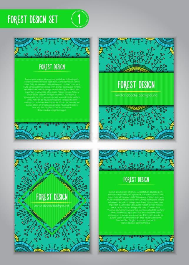 Племенной комплект дизайна мандалы Иллюстрация Doodle о лесе стоковое изображение rf