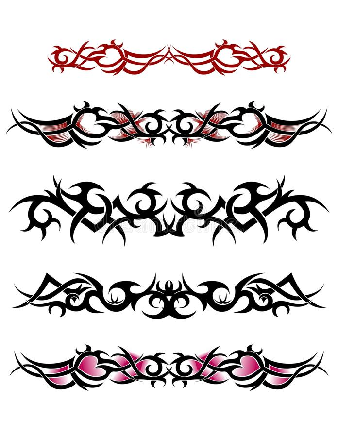 Племенной комплект дизайна татуировки лодыжки бесплатная иллюстрация