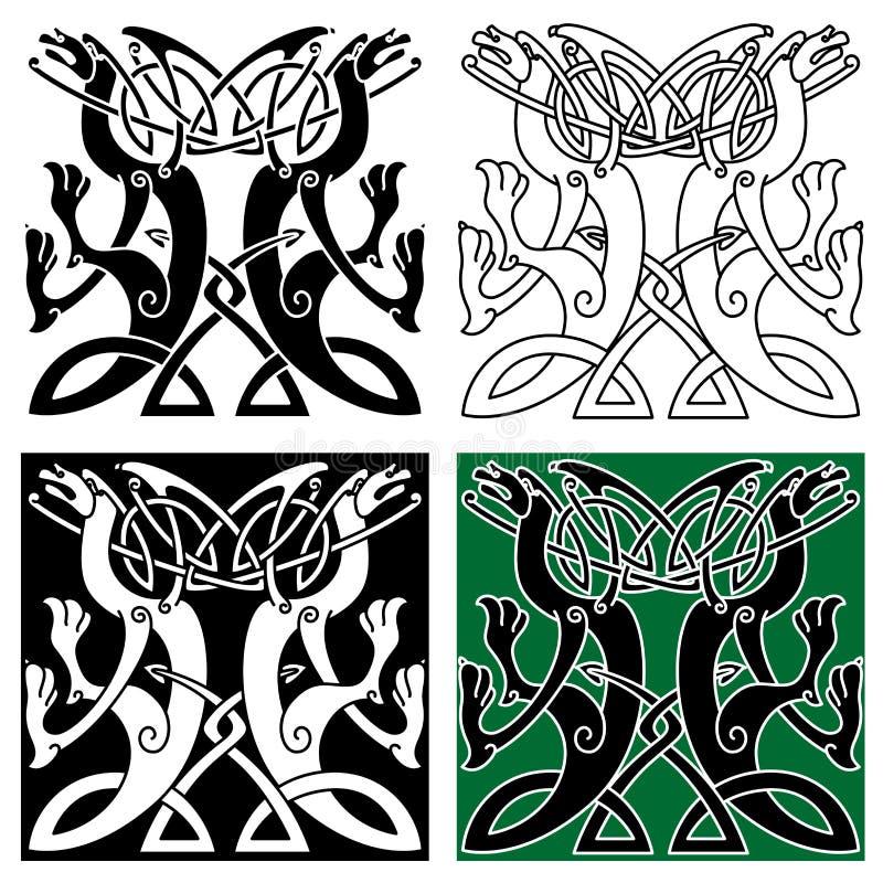 Племенной орнамент драконов с кельтской картиной узла иллюстрация вектора