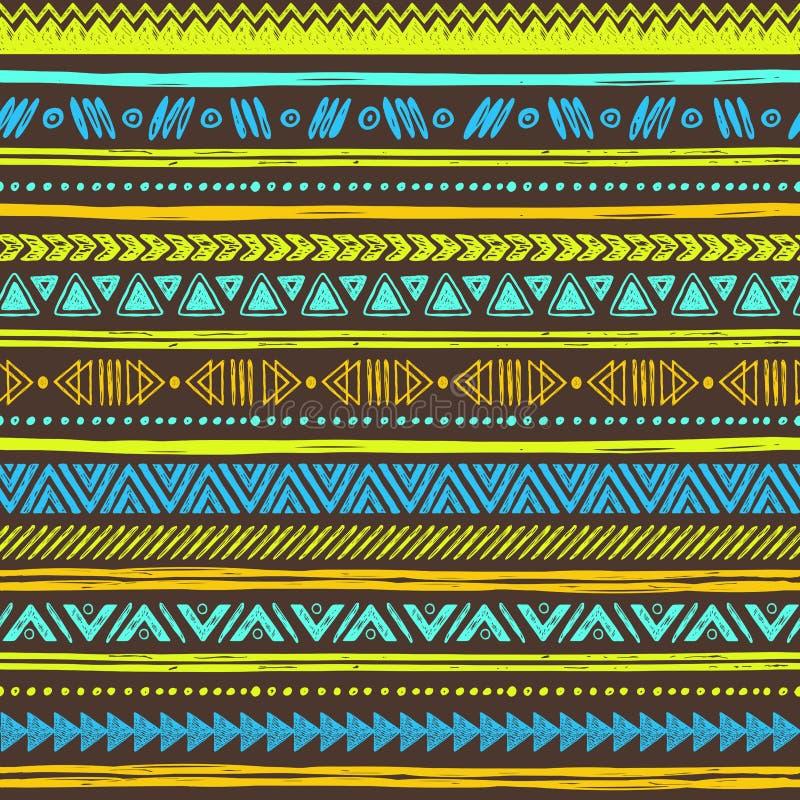 Племенной предпосылка нарисованная рукой, этики doodle картина иллюстрация вектора