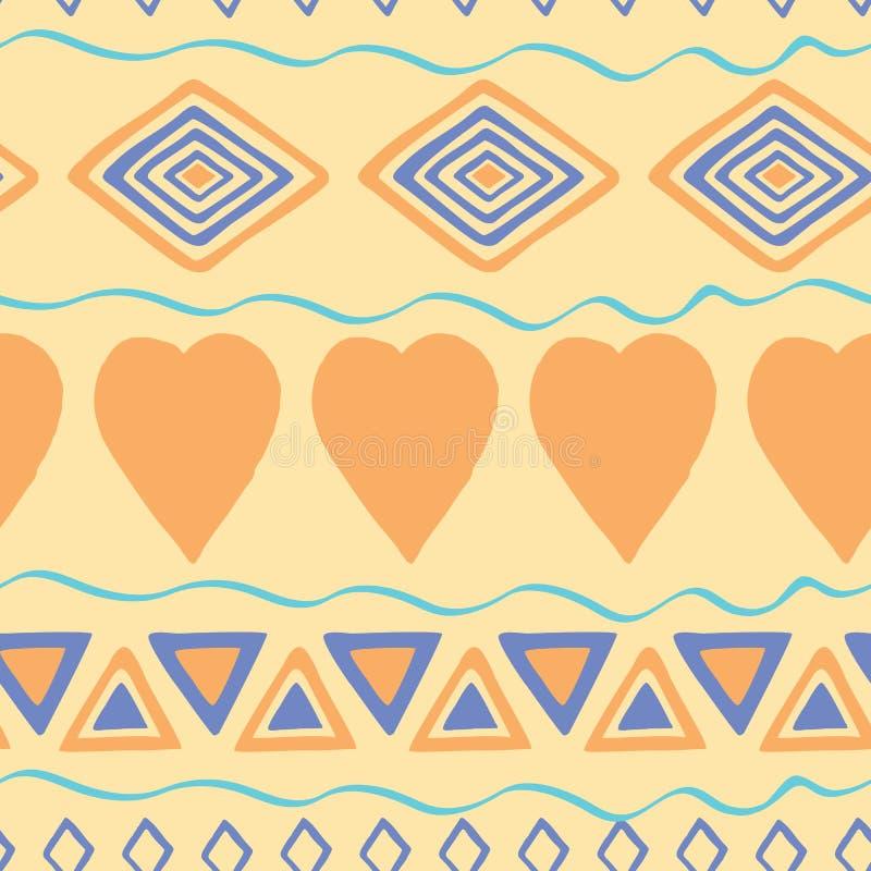 Племенной предпосылка нарисованная рукой, этики doodle картина Геометрические границы Фон нарисованный рукой абстрактный Обои для иллюстрация штока