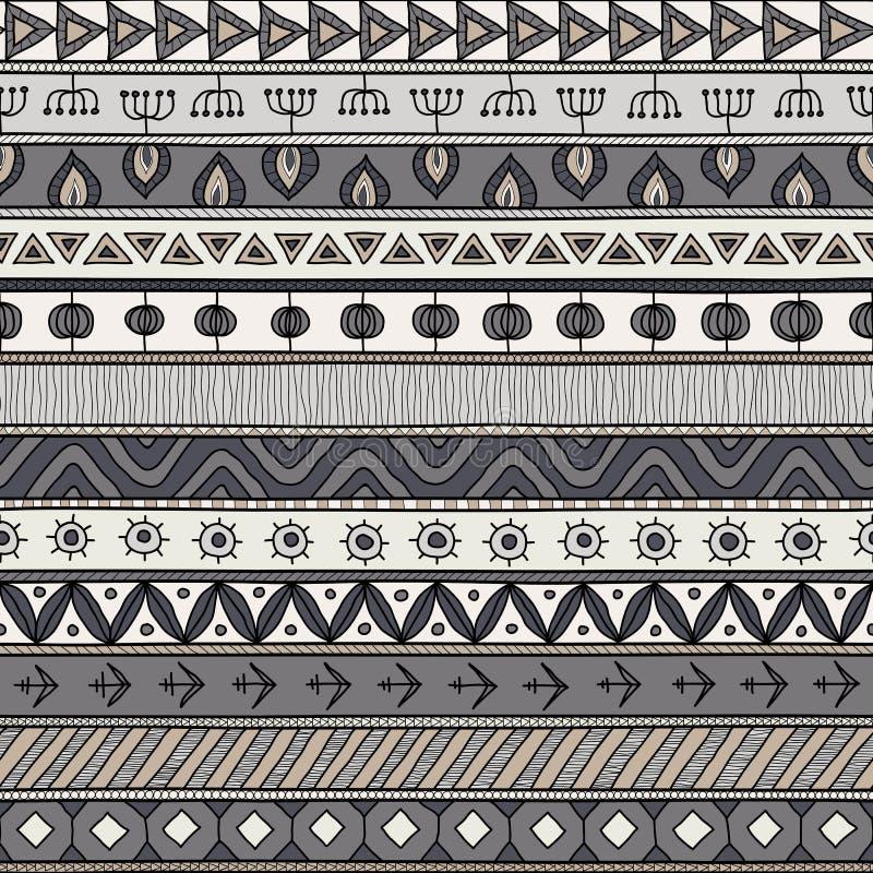 Племенной серый безшовный стиль картины, индийских или африканских этнический заплатки иллюстрация штока