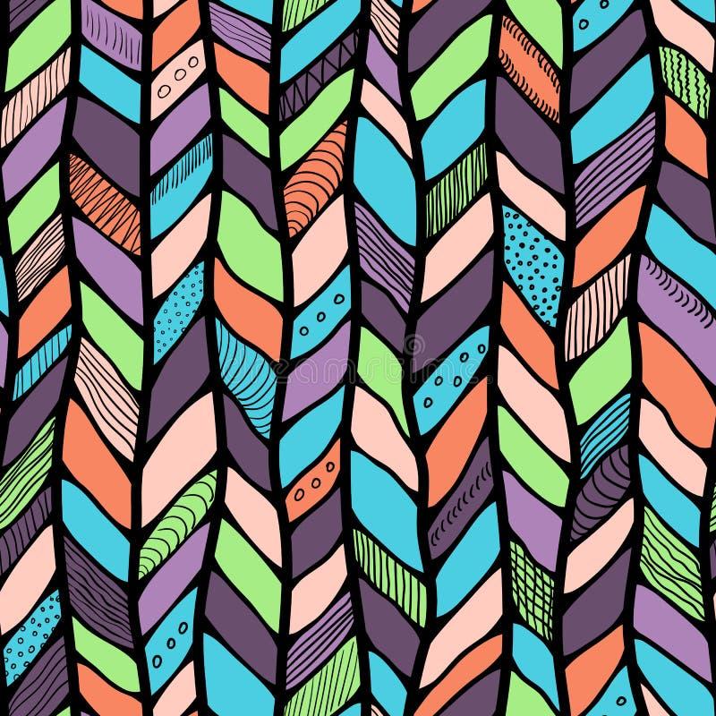 Племенной стиль заплел безшовную картину, этнический шеврон multicolor Линии оплетки иллюстрация штока