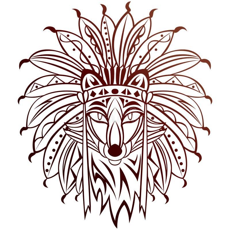 Племенной Fox иллюстрация вектора