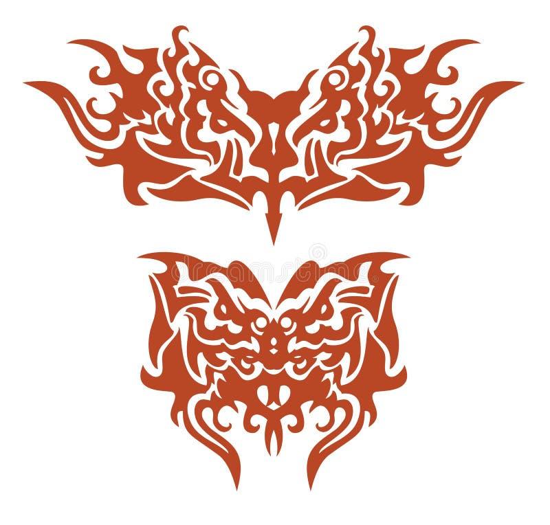 Племенные пламенеющие бабочки сформировали головой орла бесплатная иллюстрация