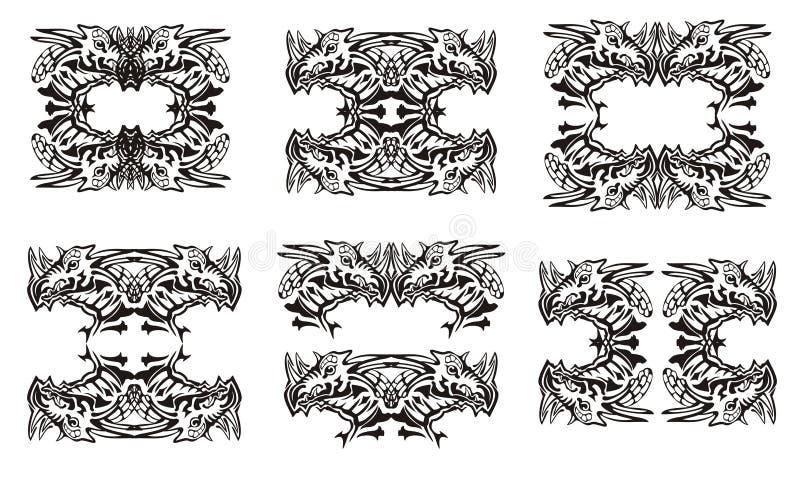 Племенные символы дракона черная белизна бесплатная иллюстрация