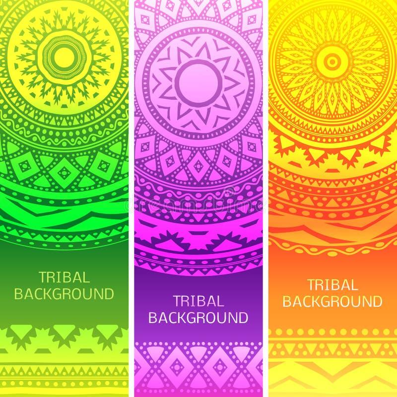 Племенные этнические винтажные знамена также вектор иллюстрации притяжки corel иллюстрация вектора