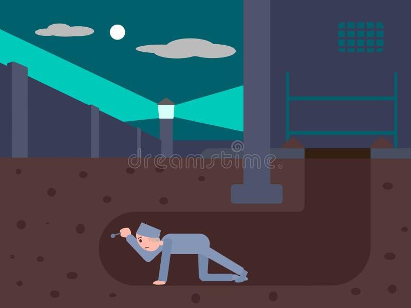 Пленник избегает от тюрьмы через тоннель бесплатная иллюстрация