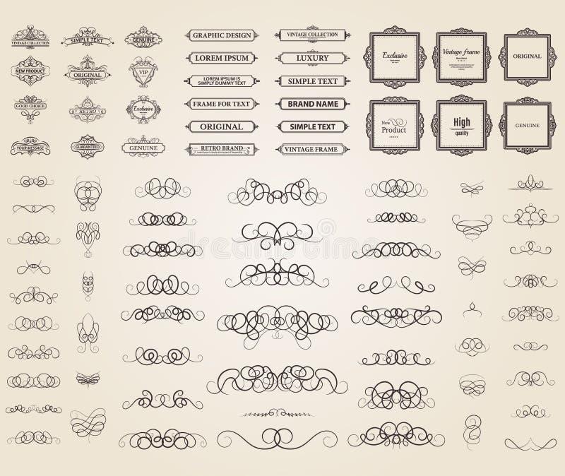 Плетеные линии и старые элементы оформления в векторе иллюстрация штока