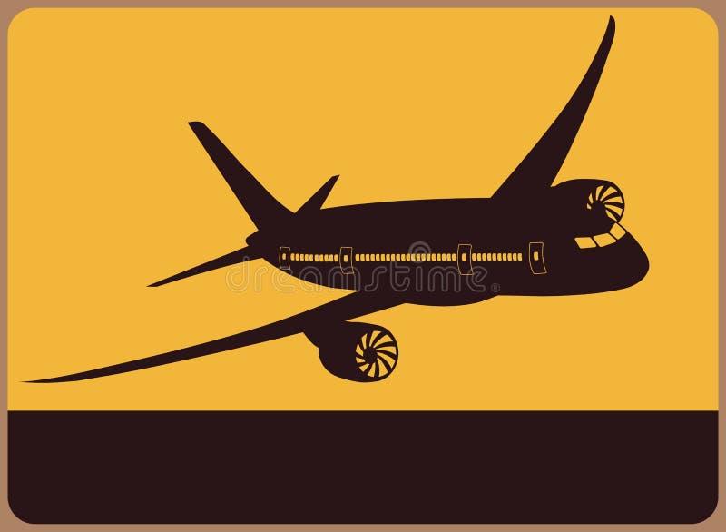 Плита информации с самолетом. иллюстрация вектора