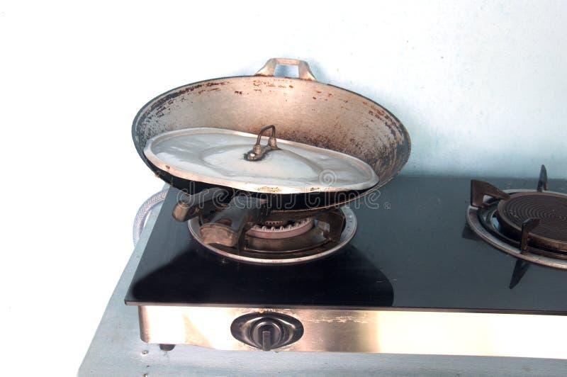 Плита и лоток газа стоковые фотографии rf